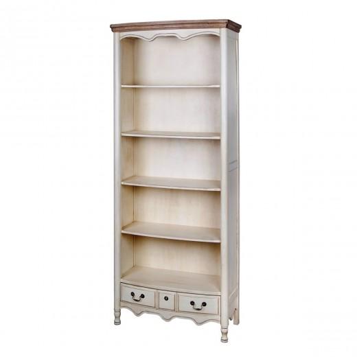Biblioteca din lemn de cauciuc si furnir, cu 1 sertar Limena LI819 Ivory, l80xA39xH192 cm