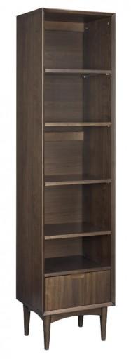 Biblioteca din lemn de fag, nuc si furnir, cu 1 sertar Oslo Walnut OS27-1 Dark Brown, l45xA37xH184 cm