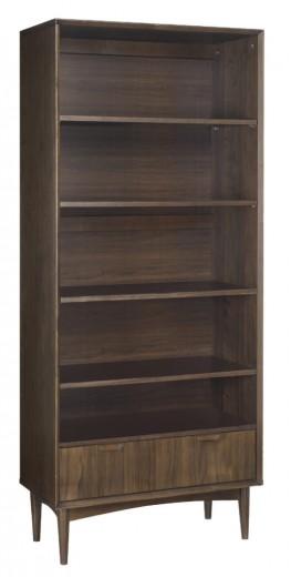 Biblioteca din lemn de fag, nuc si furnir, cu 1 sertar Oslo Walnut OS27-3 Dark Brown, l80xA37xH184 cm