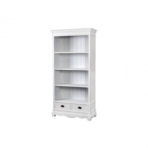 Biblioteca din lemn de plop si MDF, cu 2 sertare Latina LA02 White, l90xA39xH185 cm