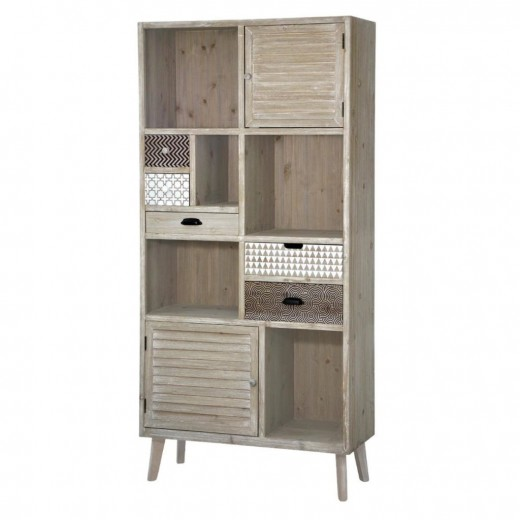 Biblioteca din lemn de plop si MDF, cu 5 sertare si 2 usi, Loano LO01 Light Brown, l90xA35xH187 cm