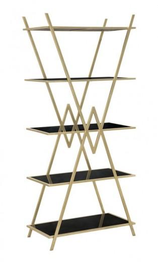 Biblioteca din metal, MDF si sticla Piramid Auriu / Negru, l80xA44,7xH180 cm