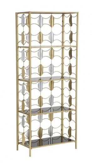 Biblioteca din metal si sticla Leaf Auriu / Negru, l64xA33xH162 cm