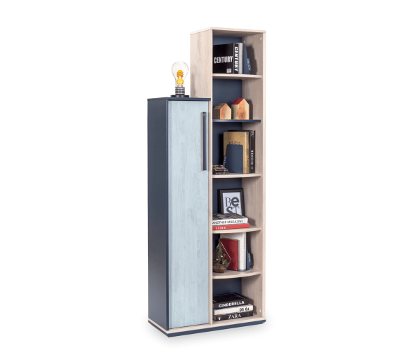 Biblioteca din pal cu 1 usa pentru tineret, baieti 12-24 ani, Trio Natur / Blue, l69xA32xH192 cm