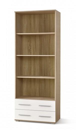 Biblioteca din pal cu 2 sertare Lima REG-3 Alb / Stejar Sonoma, l77xA40xH200 cm