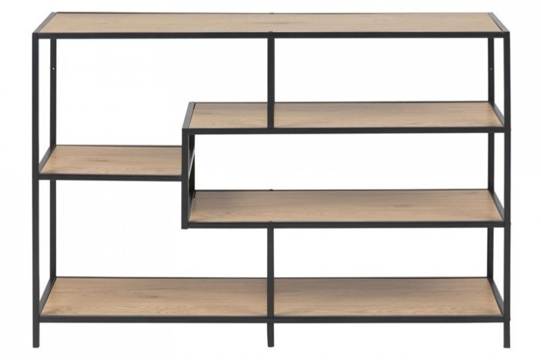 Biblioteca din pal si metal Seaford II Stejar / Negru, l114xA35xH78 cm