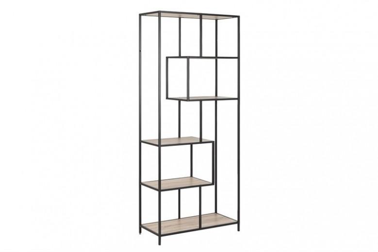 Biblioteca din pal si metal Seaford III Stejar Sonoma / Negru, l77xA35xH185 cm