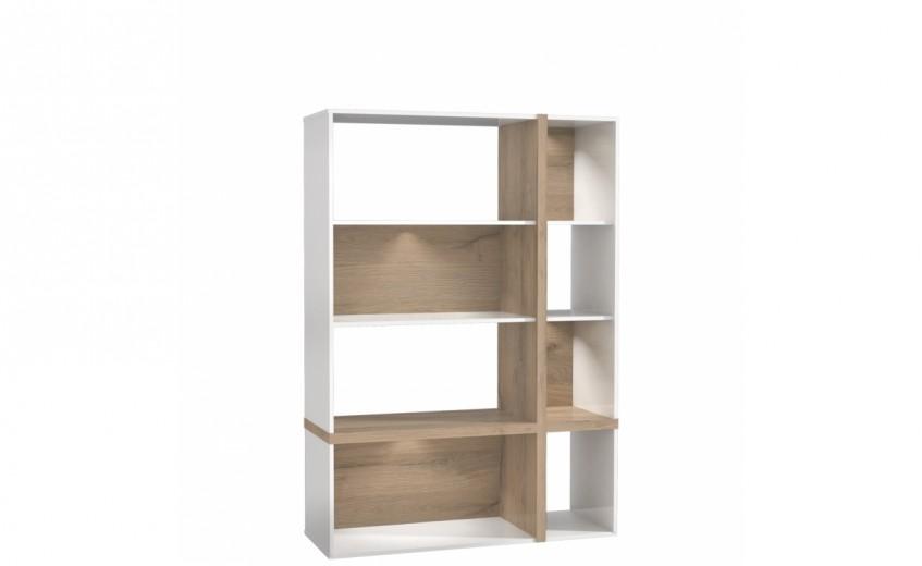 Biblioteca din MDF Large Blanka Oak / White, l114xA40xH165 cm