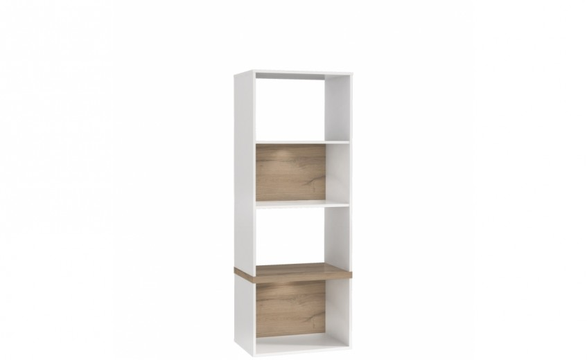 Biblioteca din MDF Small Blanka Oak / White, l60xA40xH165 cm