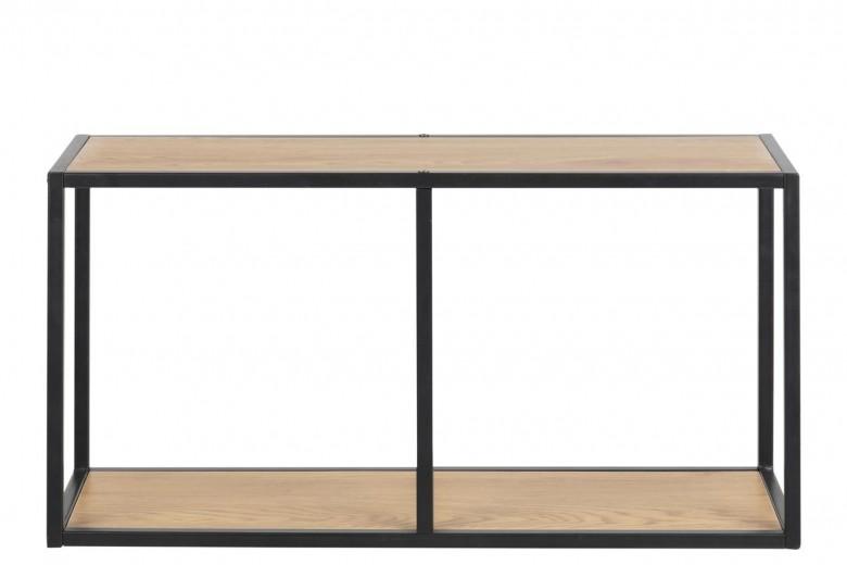 Biblioteca suspendata din pal si metal Seaford Stejar / Negru, l72,5xA24xH37 cm