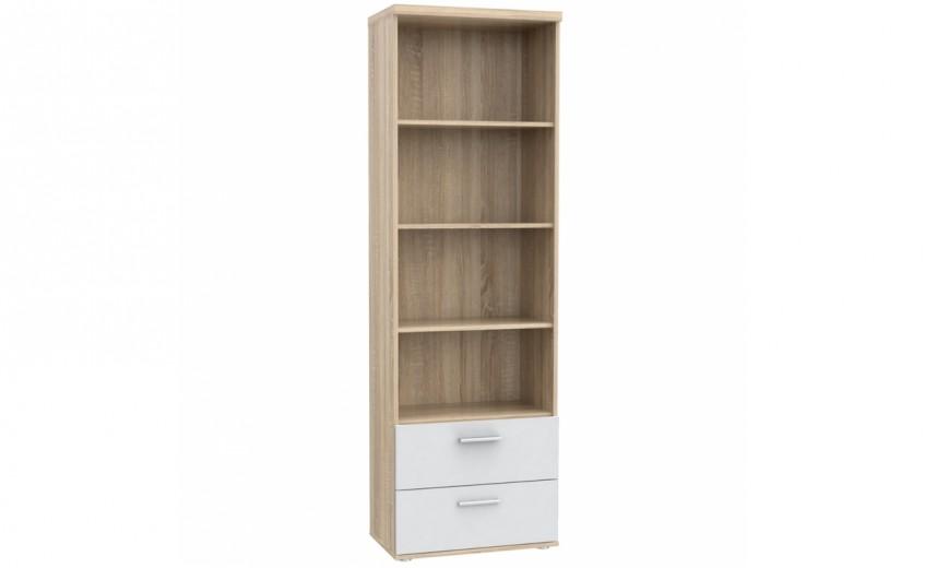 Biblioteca din pal cu 2 sertare Winer Stejar Sonoma / Alb, l60,2xA34,8xH189 cm
