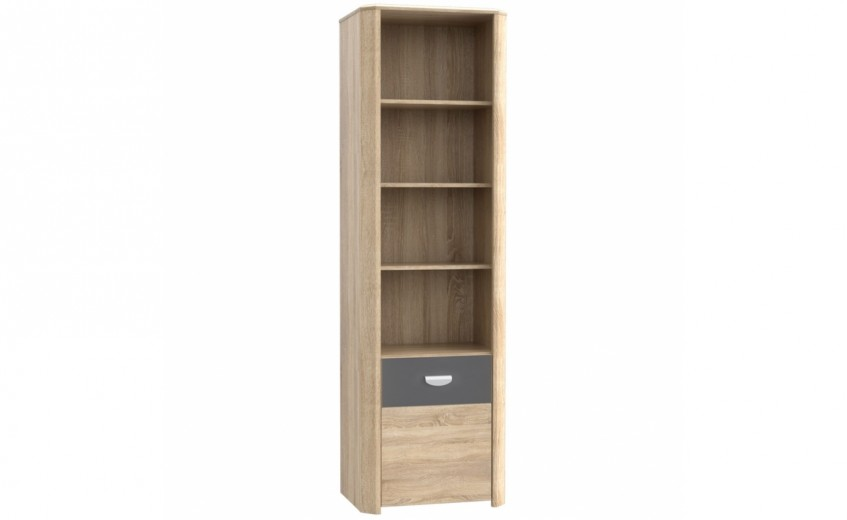 Biblioteca din pal, cu 1 usa Yoper Stejar Sonoma / Gri, l58,8xA41,3xH194,4 cm