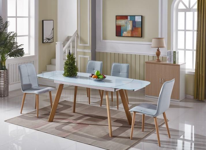Set masa extensibila din sticla si metal Sorana White + 4 scaune Freia Blue, L140-200xl80xH76 cm