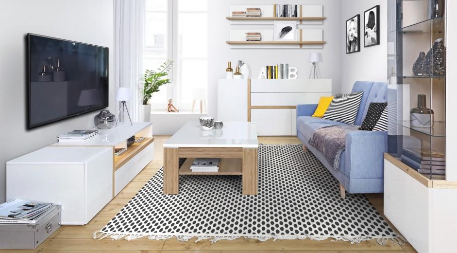 Set de mobila living din MDF, 6 piese Blanka I Oak / White
