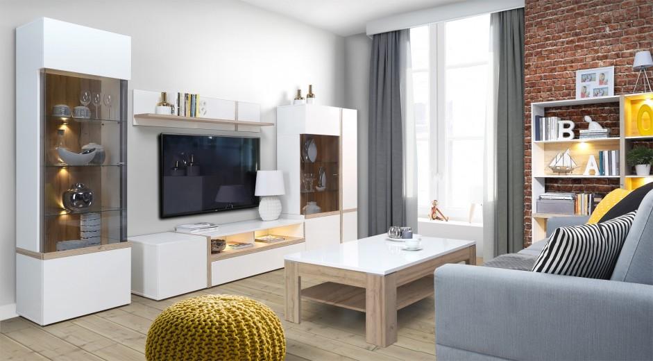Set de mobila living din MDF, 6 piese Blanka II Oak / White