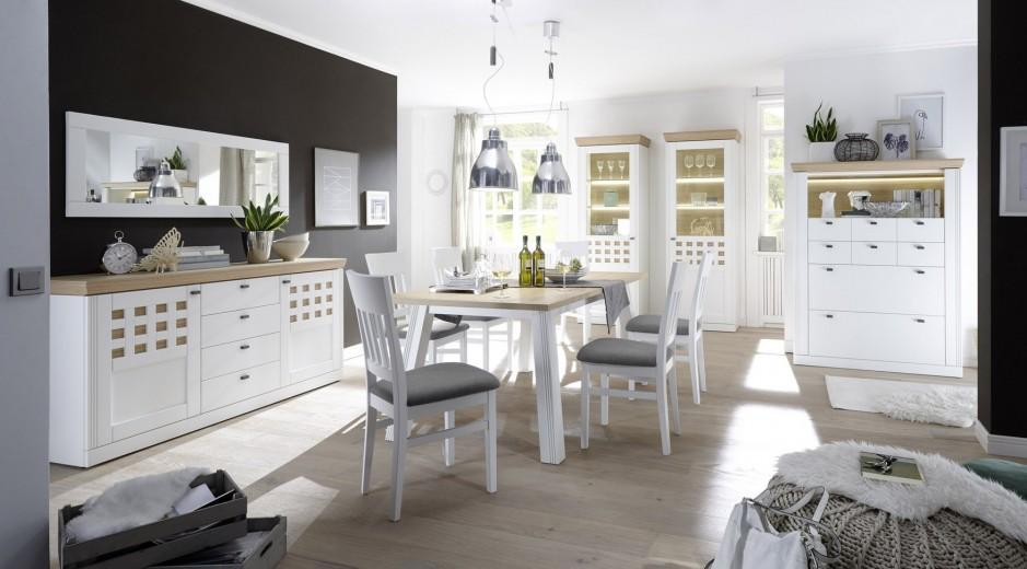 Set de mobila dining din MDF si furnir, 5 piese Bolero II White / Oak