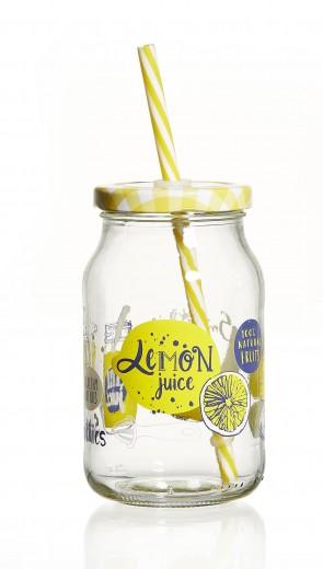 Set borcane cu pai si capac pentru limonada Fruits Yellow, Flirt, 450 ml, 6 piese