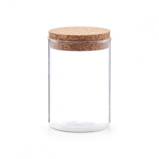 Borcan pentru depozitare cu capac din pluta, Glass A, 400 ml, Ø 7,5xH12 cm