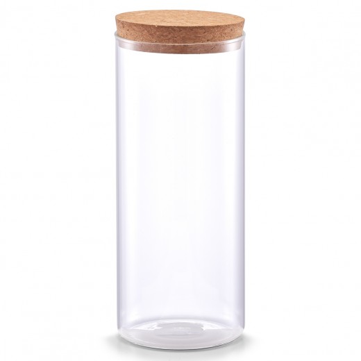 Borcan pentru depozitare cu capac din pluta, Transparent Glass C, 1400 ml, Ø 9,5xH23,5 cm