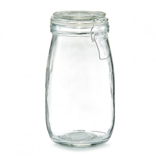 Borcan pentru depozitare cu capac, inchidere ermetica, Clip III Glass, 1450 ml, Ø 11xH22 cm
