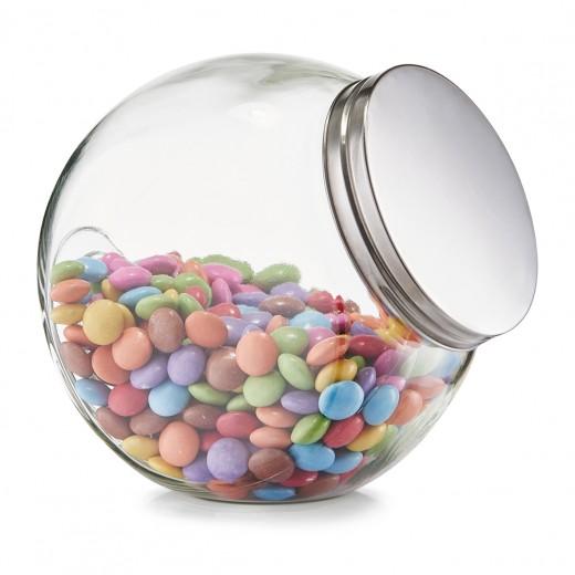 Borcan pentru depozitare din sticla Candy, capac metalic, 1200 ml, l15xA10,5xH15 cm