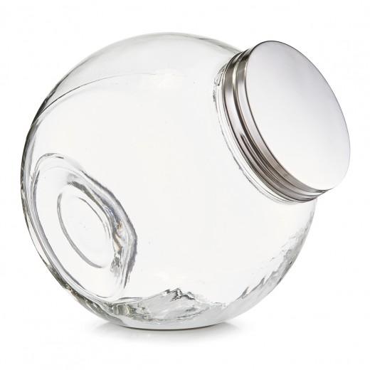 Borcan pentru depozitare din sticla Candy, capac metalic, 2200 ml, l18xA12,5xH18 cm