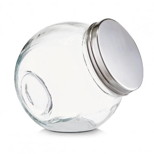 Borcan pentru depozitare din sticla Candy, capac metalic, 450 ml, l12xA8,5xH12,5 cm