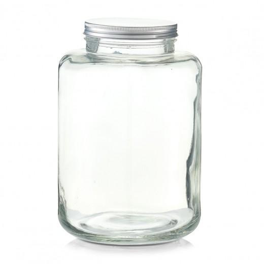 Borcan pentru depozitare din sticla, capac metalic, 7000 ml, Ø 20xH29,5 cm