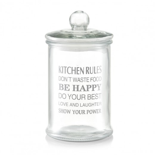 Borcan pentru depozitare din sticla Kitchen Rules, capac etans, 2400 ml, Ø 15,5xH28 cm