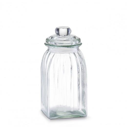 Borcan pentru depozitare din sticla Square, capac etans, 1000 ml, l10,5xA10,5xH23 cm