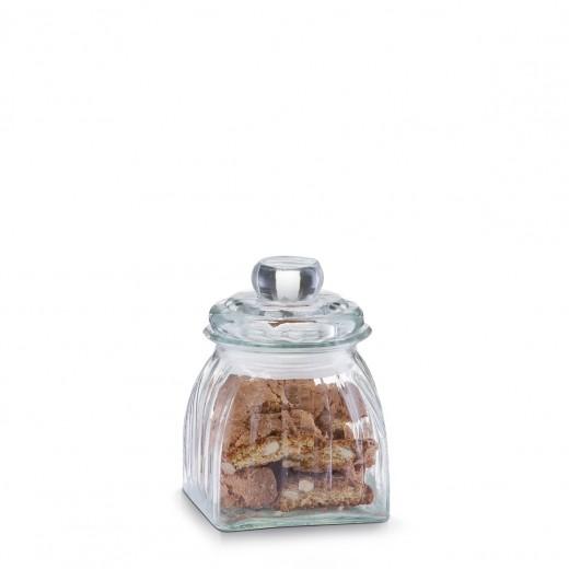 Borcan pentru depozitare din sticla Square, capac etans, 500 ml, l10,5xA10,5xH15,5 cm