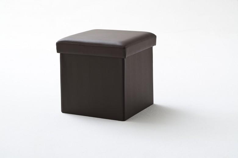 Taburet tapitat cu piele ecologica, cu spatiu de depozitare Box Maro, l40,5xA40,5xH40 cm