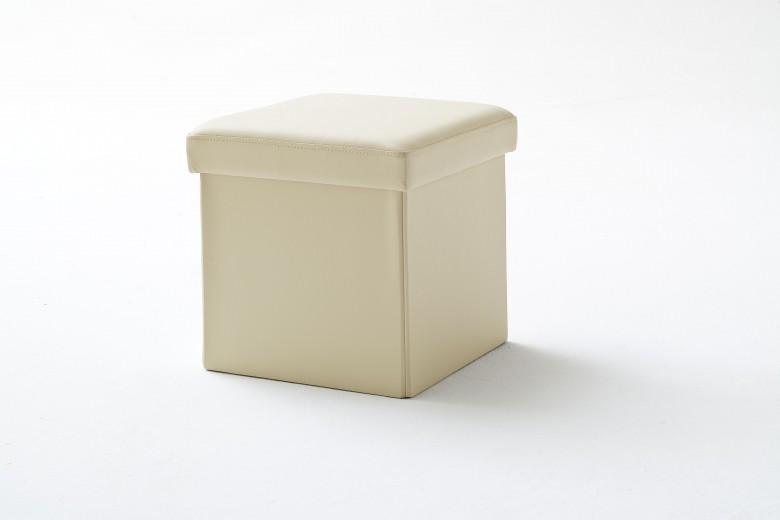 Taburet tapitat cu piele ecologica, cu spatiu de depozitare Box Bej, l40,5xA40,5xH40 cm