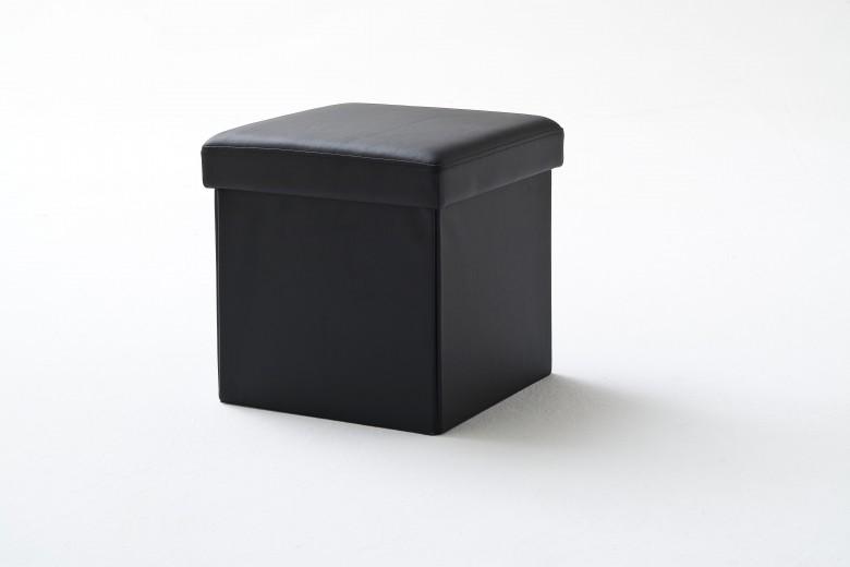 Taburet tapitat cu piele ecologica, cu spatiu de depozitare Box Negru, l40,5xA40,5xH40 cm