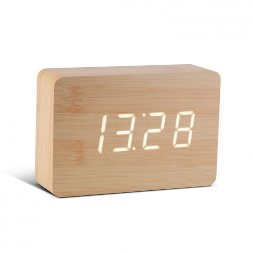 Ceas cu functie de intensitate redusa Brick Click Clock Beech/White