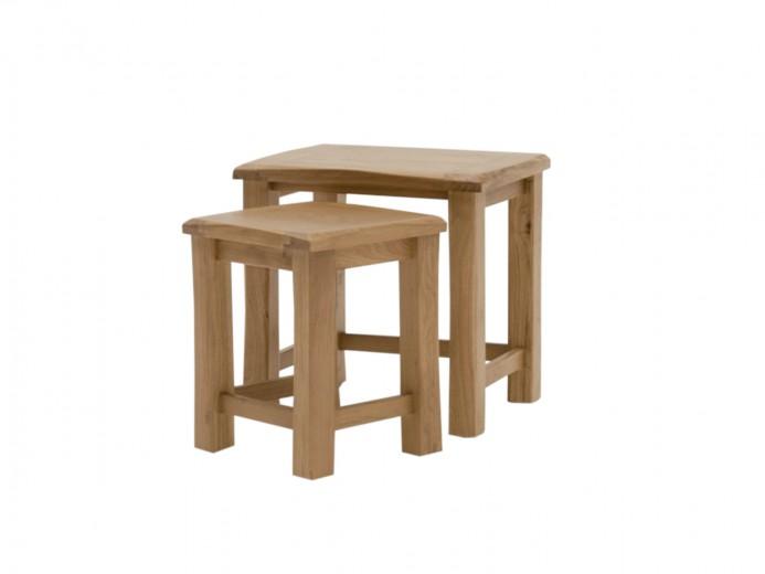 Set 2 mese din lemn de stejar si furnir Breeze Oak, L56xl45xH54,6 / L42xl38xH47,5 cm