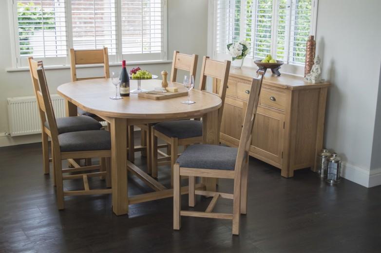 Scaun din lemn de stejar si furnir, cu sezut tapitat cu stofa Breeze Grey / Oak, l46xA52xH105 cm