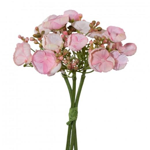 Buchet flori artificiale, Wild Hydrangea Cuffs Roz, H20 cm