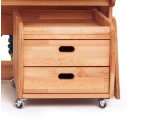 Cabinet din lemn de fag, cu 2 sertare Ecodesk Natural , l42xA40xH35 cm