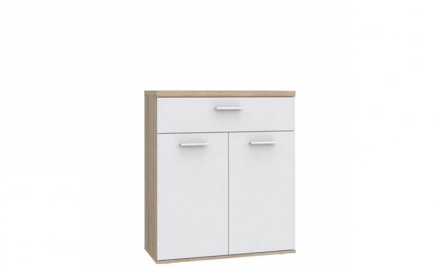 Cabinet din pal cu 1 sertar si 2 usi Winer Stejar Sonoma / Alb, l80xA35xH93 cm