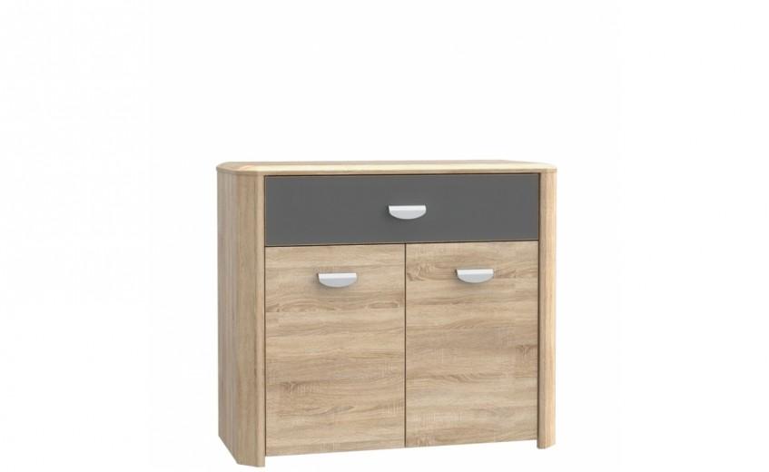 Cabinet din pal, cu 1 sertar si 2 usi Yoper Stejar Sonoma / Gri, l93,5xA41,3xH82,4 cm