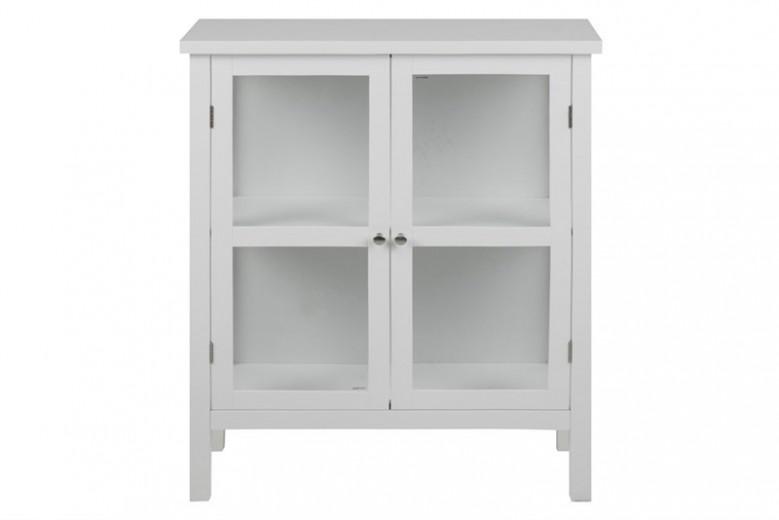 Cabinet cu vitrina si 2 usi, din MDF si sticla Eton Alb, l80xA35,5xH99,5 cm