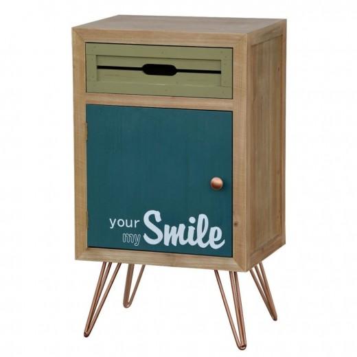 Cabinet din lemn de brad si furnir, cu 1 sertar si 1 usa Portofino F007 Multicolour, l40xA30xH70 cm