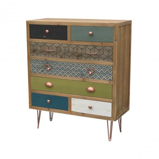 Cabinet din lemn de brad si furnir, cu 7 sertare Portofino F019 Multicolour, l80xA34xH95 cm