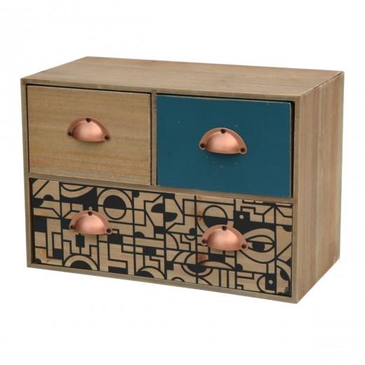 Cabinet din lemn de brad si furnir, cu 3 sertare Portofino F031 Multicolour, l30xA15xH20 cm