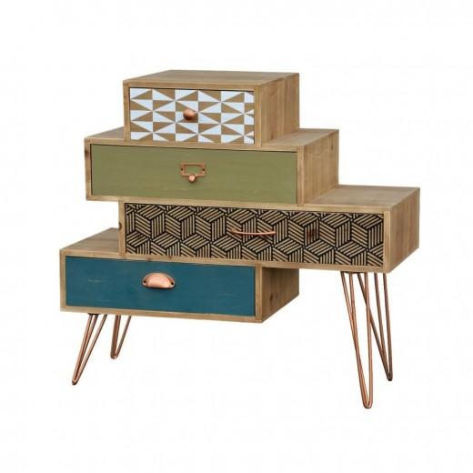 Cabinet din lemn de brad si furnir, cu 4 sertare Portofino F039 Multicolour, l80xA35xH75 cm