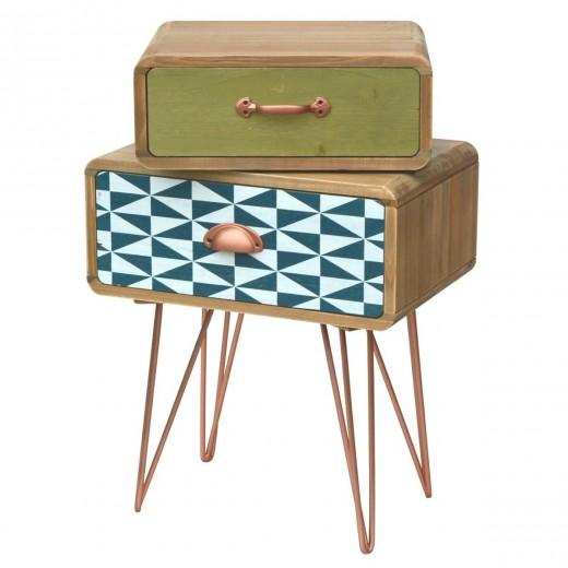 Cabinet din lemn de brad si furnir, cu 2 sertare Portofino F049 Multicolour, l43xA30xH64 cm