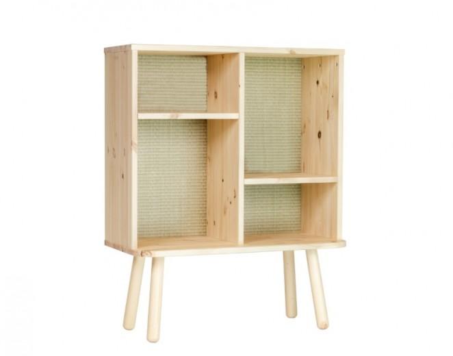 Cabinet din lemn de pin Kyabi Natural, l80xA30xH100 cm