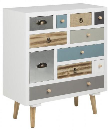 Cabinet din lemn de pin si MDF, cu 11 sertare Thais Multicolor, l70xA32xH81 cm