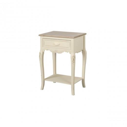 Cabinet din lemn de plop si MDF, cu 1 sertar Rimini RI019 Cream / Light Brown, l47xA36xH70 cm